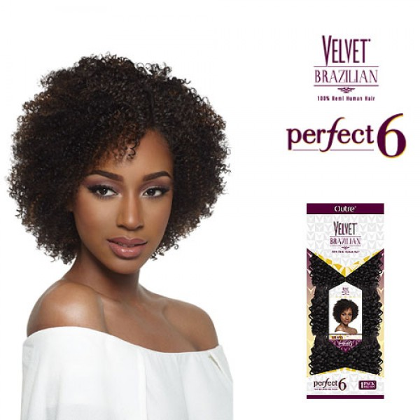 Outre Velvet Brazilian 100 Remi Human Hair Perfect 6 Coil 6pcs